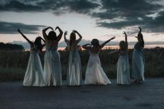 Bridesmaids at sunset