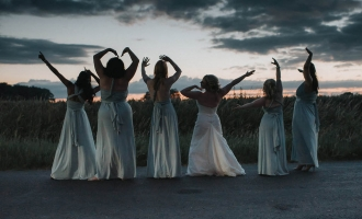 Bridesmaids at sunset